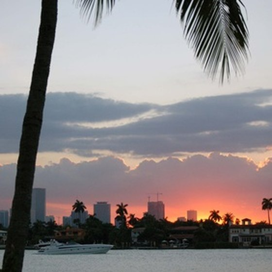 Hotels situated in downtown Miami are at the base of Biscayne Bay.