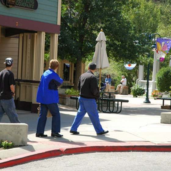 Enjoy a stroll on the riverwalk in Estes Park, Colorado, while RV vacationing in northeastern Colorado.