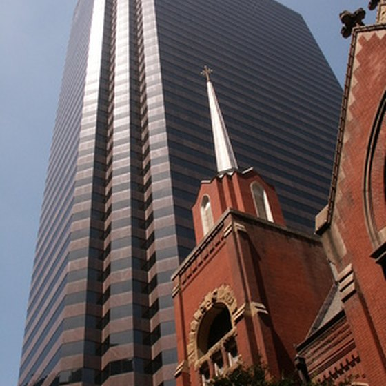 Historical sites around Dallas are among modern buildings.