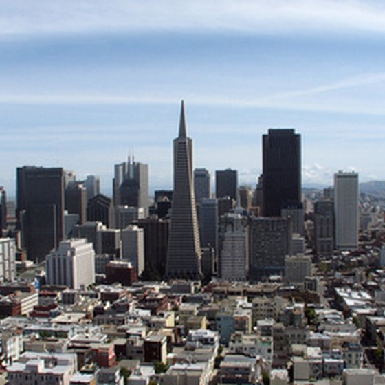 San Francisco's Nob Hill area provides panoramic views of the city and bay.