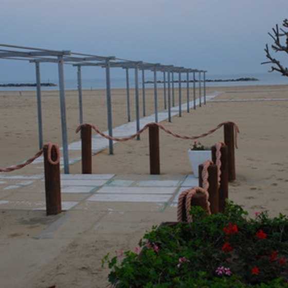 The wide beaches of Pescara are packed on holidays.