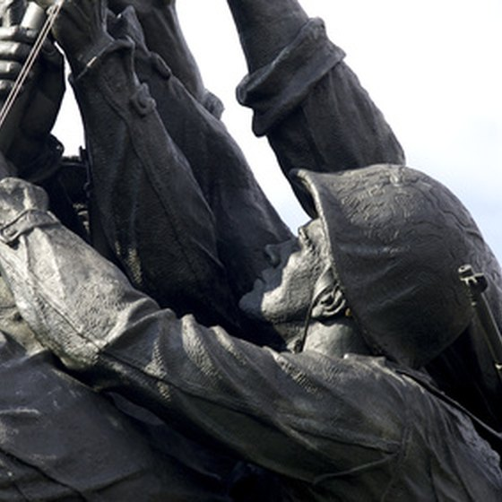 A close-up of the The U.S. Marine Corps Memorial