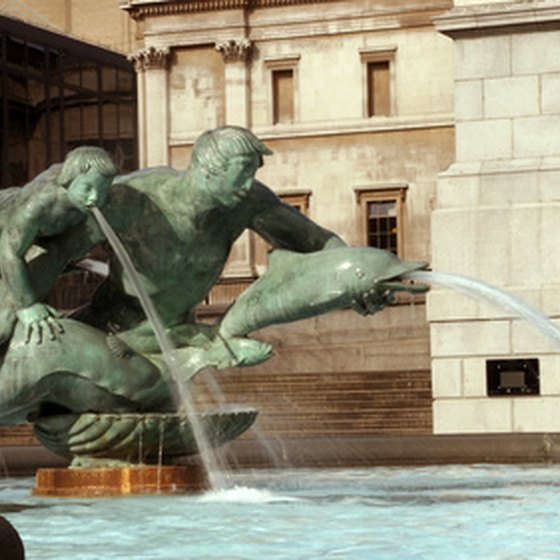 Trafalgar Square's familiar fountain.