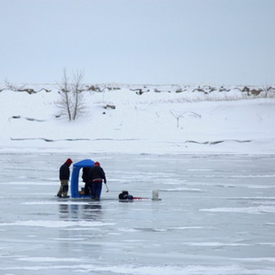 Setting up to ice fish