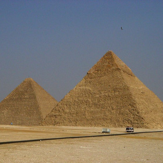 Two of the pyramids of Giza.