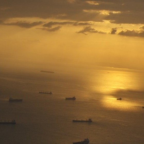 Boats in the Bay of Panama at sunset
