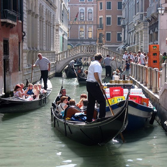 Gondolas are a popular form of transportation in Venice.