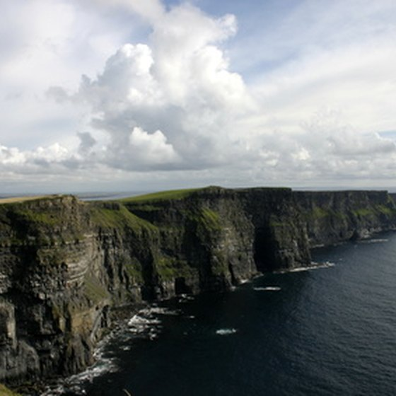 The Cliffs of Moher are often visited by vacation tour groups.