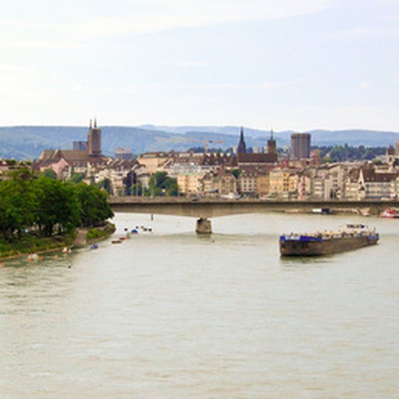 The town of Basel is situated along the Rhine river.