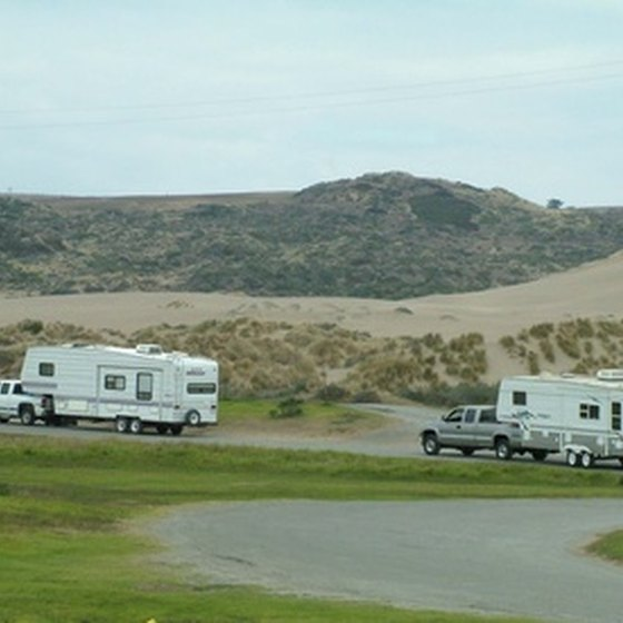 RV campers heading toward the mountains