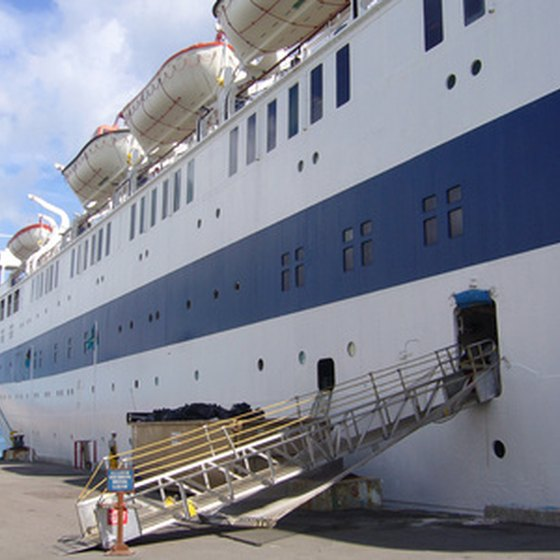 A cruise ship docked in Nassau on the island of New Providence.