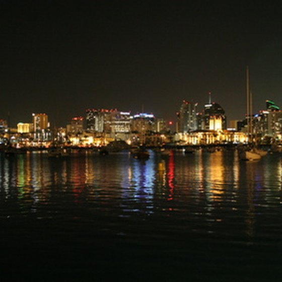 San Diego skyline on a clear southern California night.