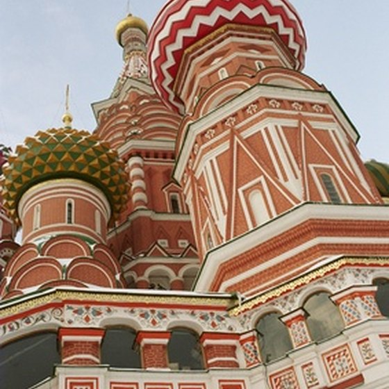 St. Basil's Cathedral in Moscow boasts colorful onion domes.