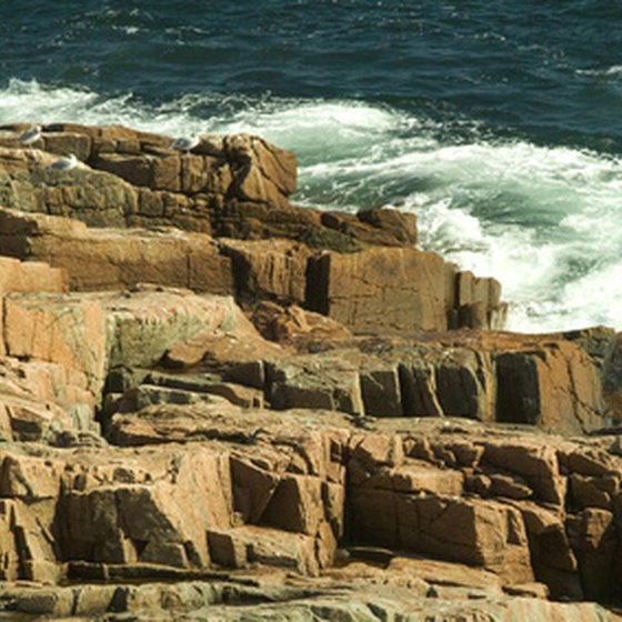 The surf hitting the rocks at Acadia National Park