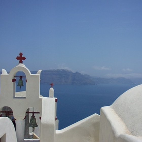 Ideal weather draws tourists to Santorini.