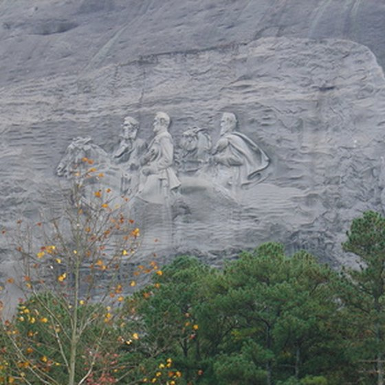 Passengers aboard the Stone Mountain Scenic Railroad can see unparralled views, including one of this large bas-relief sculpture carved into the side of the mountain.
