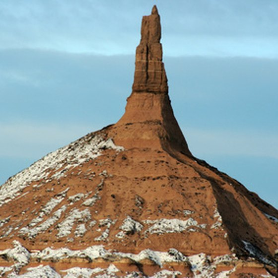 Chimney Rock, a landmark on the Oregon California trail