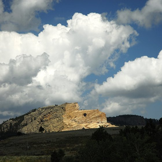 The Crazy Horse Memorial as of 2010, slowly being carved into the mountain