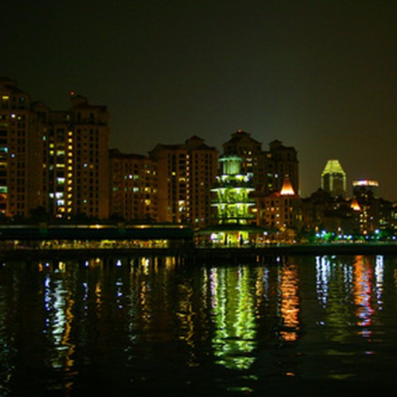 Singapore Bay at night.