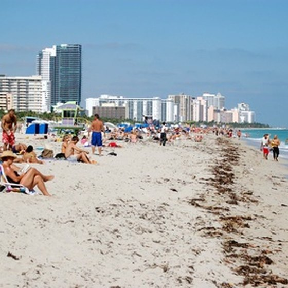 South Beach Miami has a seemingly endless stretch of white sand beaches.