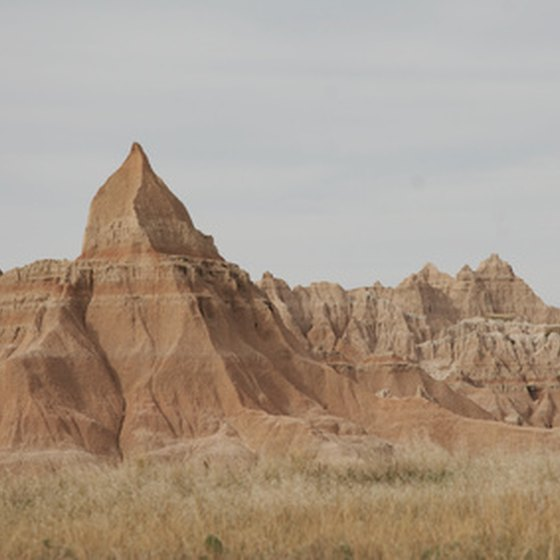 The Badlands is made up of prairies and rock formations.