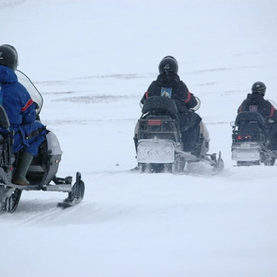 Snowmobiling is a popular way to get outside in winter.