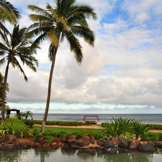 Kauai features 50 miles of tropical beaches.