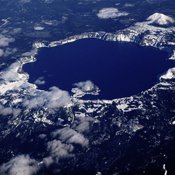 An aerial view shows the Crater Lake area.