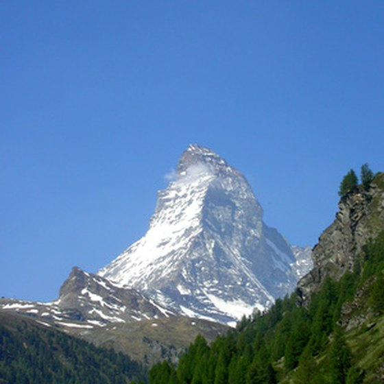 Skiing in Zermatt offers stunning views of the Matterhorn.