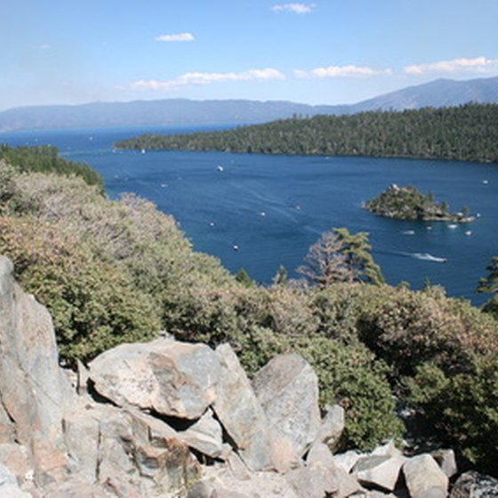 Lake Tahoe sits on the border of Callifornia and Nevada.