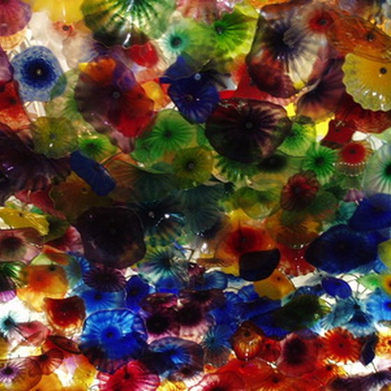 Glass-blown chandelier in hotel lobby of the Bellagio