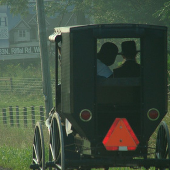 Amish buggies are common in Shipshewana.