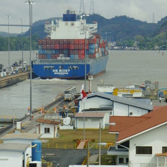 A cargo ship begins its passage through the Panama Canal.