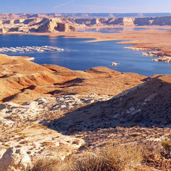 boats moored on Lake Powell