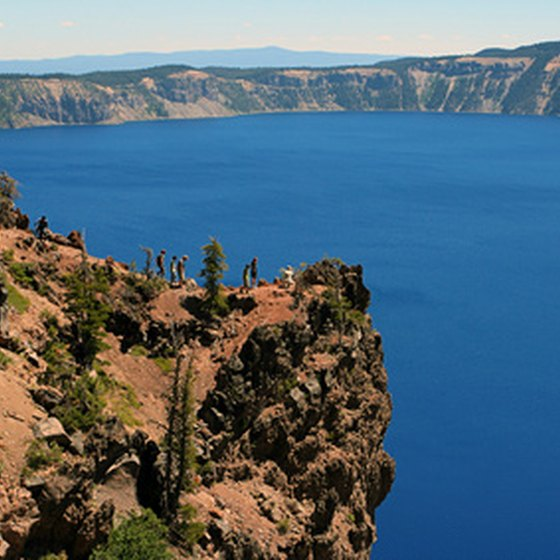 Crater Lake National Park preserves the crest of Mount Mazama, a volcano.