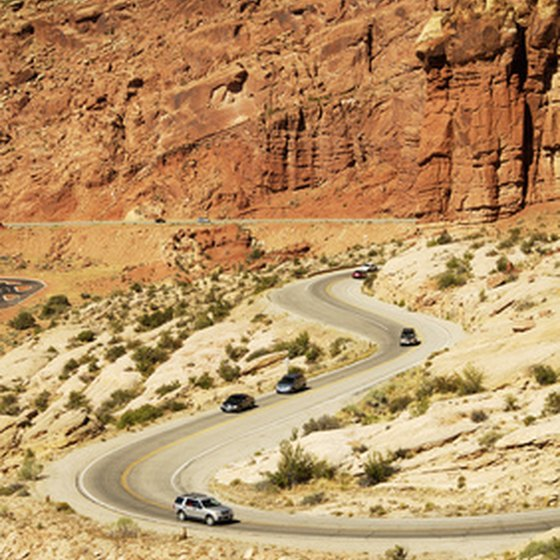 Traffic on a winding scenic road.