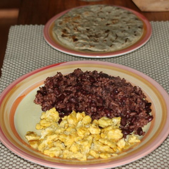 Gallo pinto, a breakfast dish, is usually served with eggs.