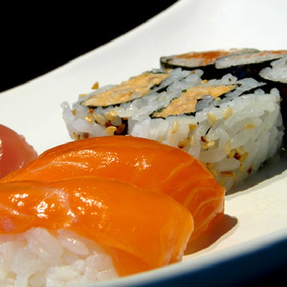 Sushi and sashimi make up part of the Japanese diet.