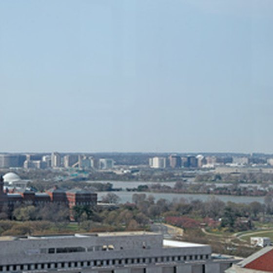 A view of Washington DC, including the famous Washington Monument.