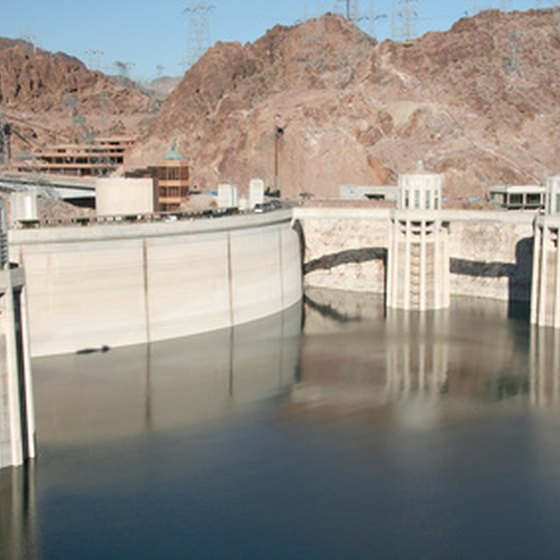 The Hoover Dam lies within rugged terrain.