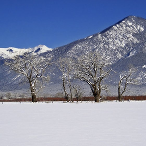 Taos, New Mexico, is open for skiing from November to April.