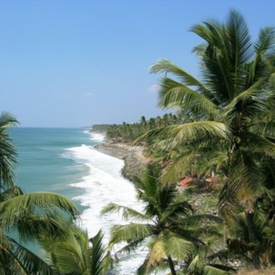 Coastal scenery in Kerala, Southern India.