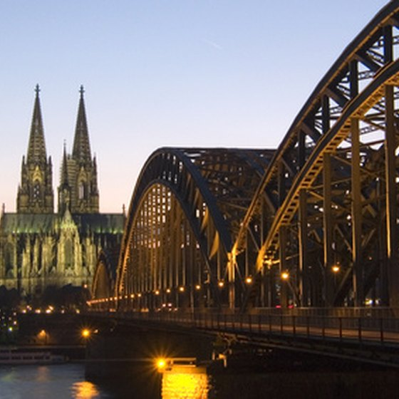 The Hohenzollern Bridge with the Cologne Cathedral in the distance
