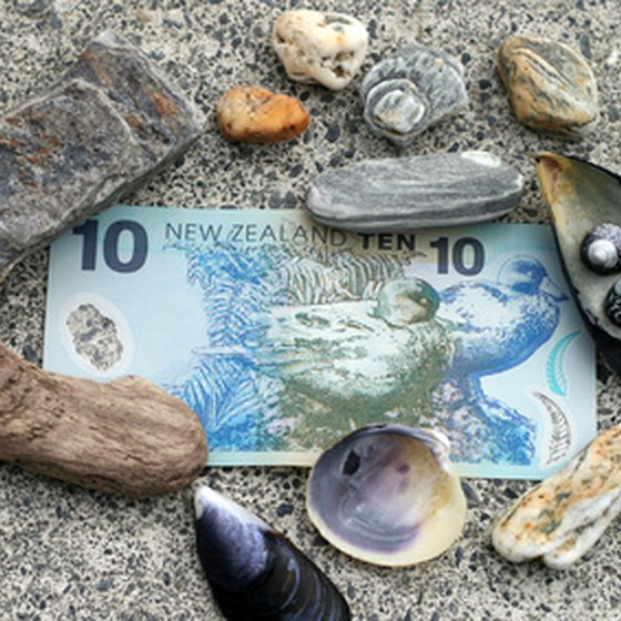 Keepsake shells and currency from New Zealand.