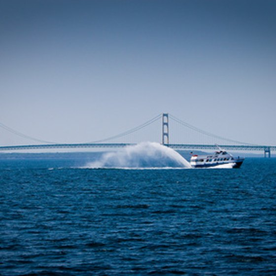 Travelers take ferries to Mackinaw Island.