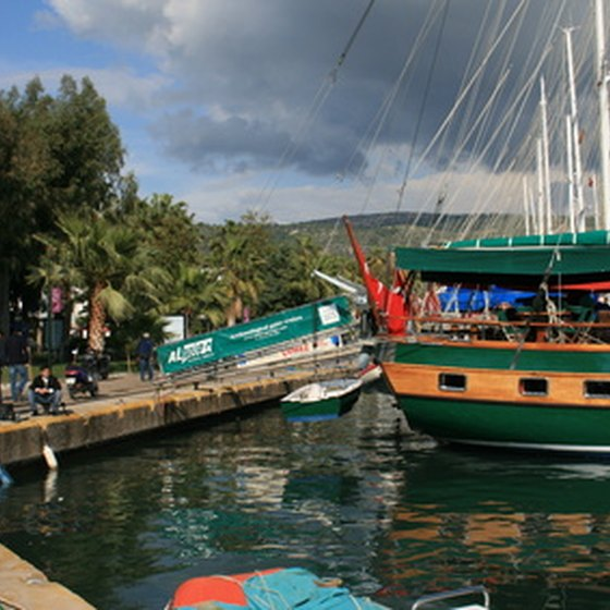 A traditional gulet in Bodrum port.