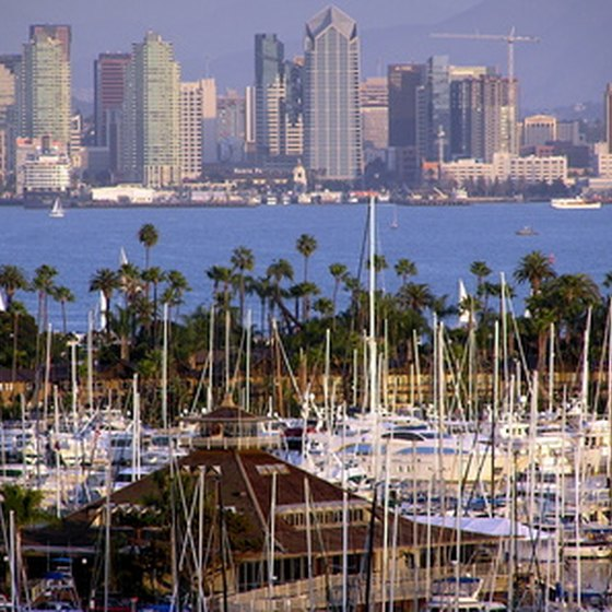 A view of San Diego's marina with the downtown skyline towering above.