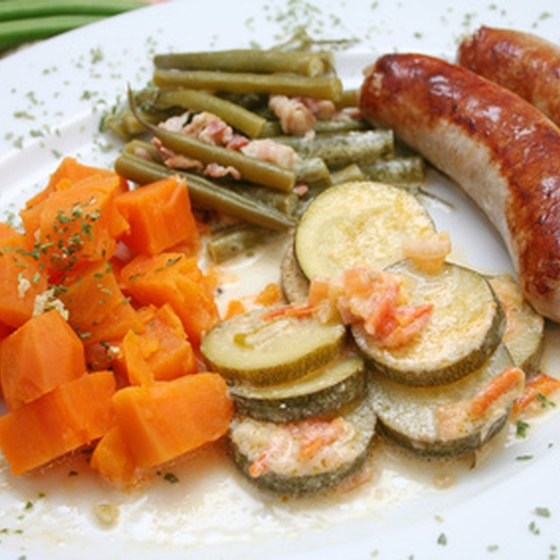 Hearty bratwurst dishes are a traditional German dish.