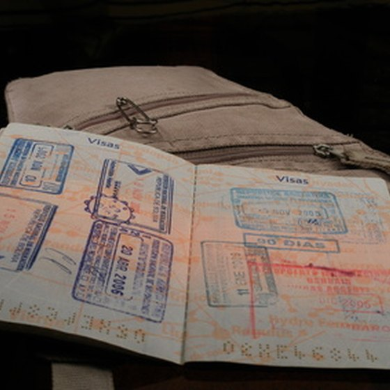 Stamps in a passport