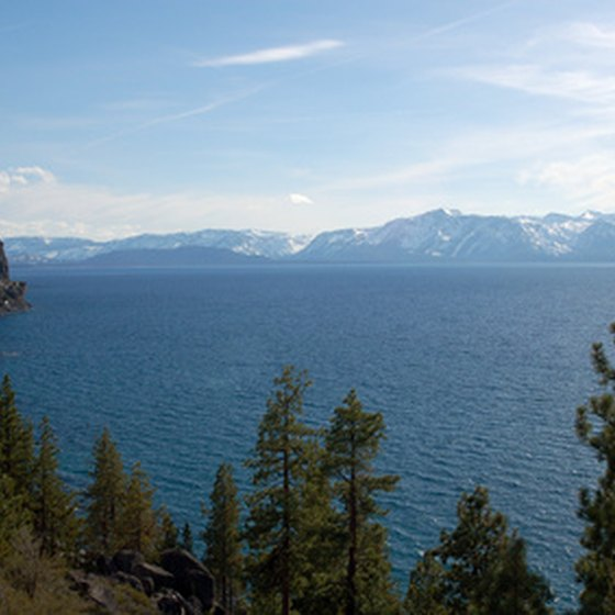 Several ski resorts are built in the mountains surrounding Lake Tahoe.
